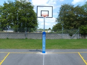 Outdoor Basketball with Safety Padding.