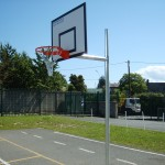 Outdoor Basketball without Safety Padding.