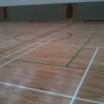 Indoor Sports Line Marking in Irish Schools. basketball line marking, badminton line marking, volleyball line marking and 5 a side soccer line marking.
